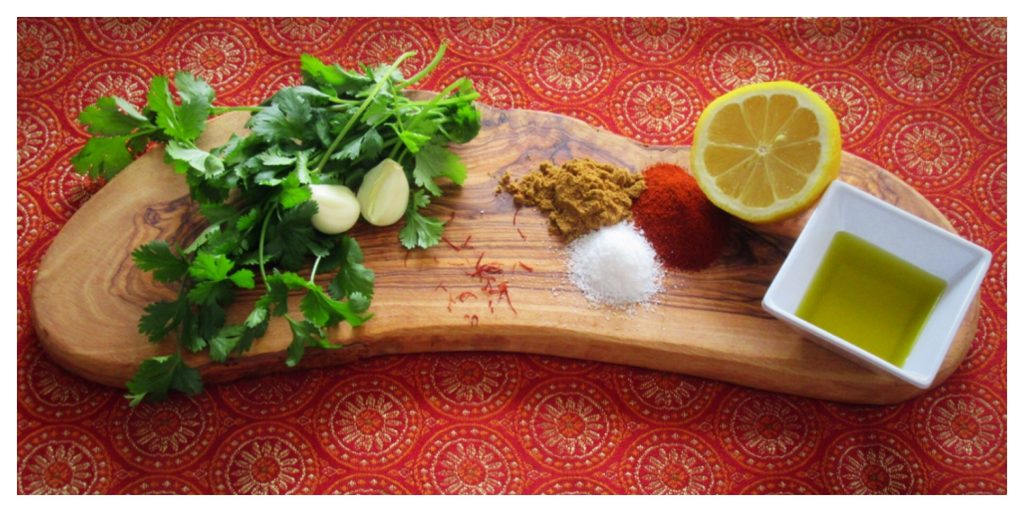 Moroccan Chermoula ingredients