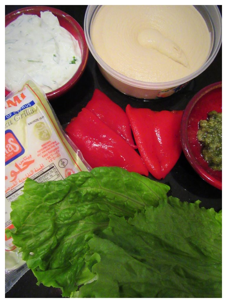 roasted red pepper & halloumi wrap ingredients