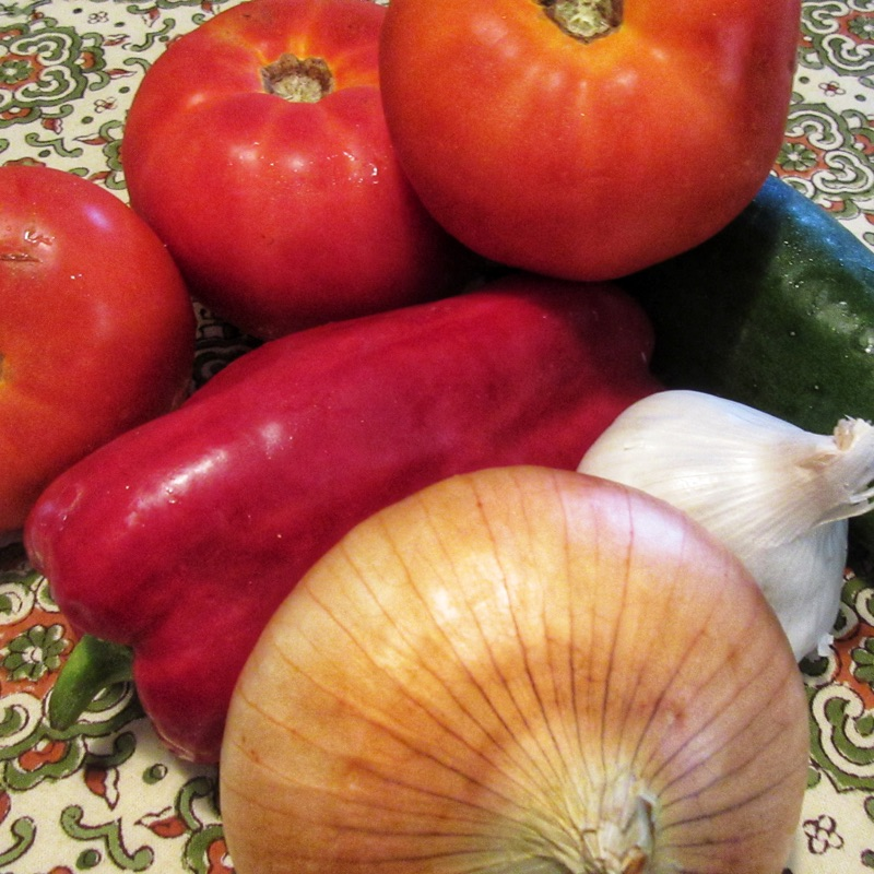 Fresh ingredients for gazpacho Spanish soup