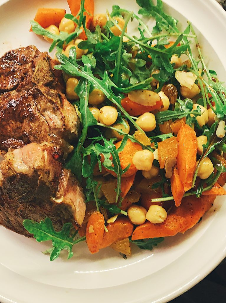 Roasted Carrot and Chickpea Salad with Lamb Chops