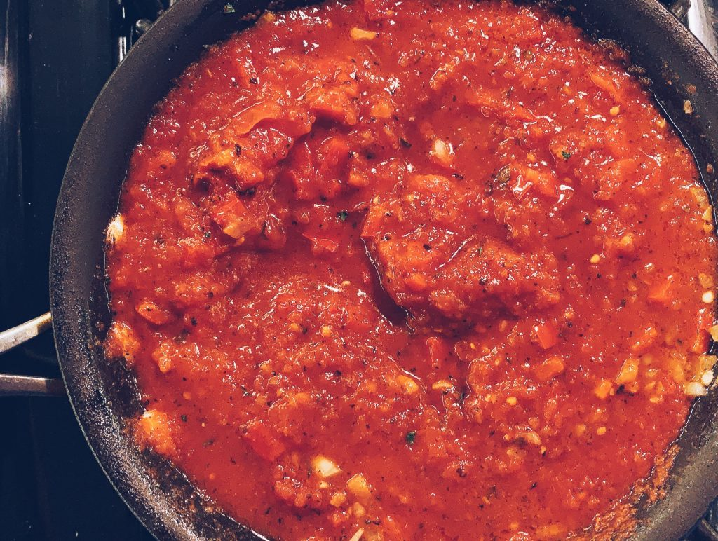 Sauce for Shakshouka before eggs are added