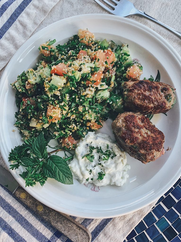 Tabbouleh as part of a meal