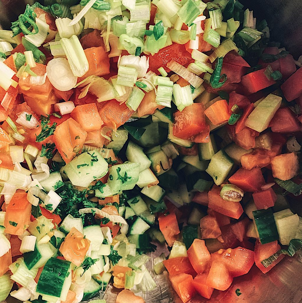 Tabbouleh Vegetable Mix Cucumber Tomato Green Onion Parsley