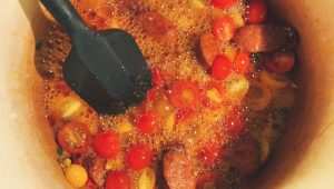 Cava Bubbling in Tomato Broth