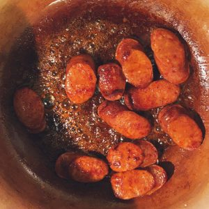 Sauteed Chorizo for Steamed Mussels