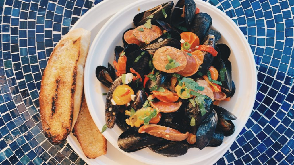 Steamed Mussels & Chorizo and Tomato Broth