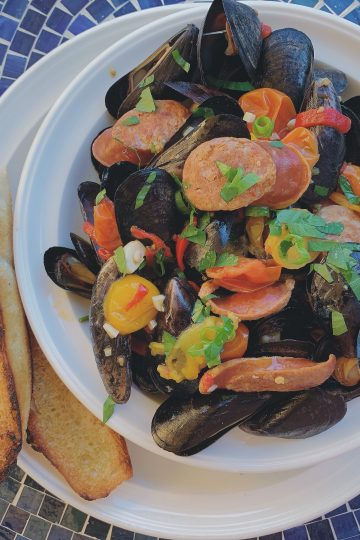 Steamed Mussels with Chorizo and Tomato Broth