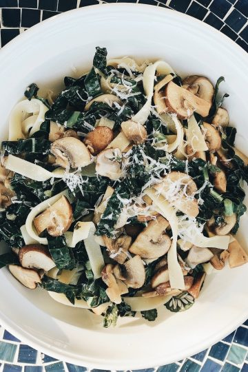 Tuscan Kale with Mushrooms and Pasta