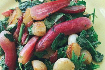 Pan Roasted Hakurei Turnips and Radishes