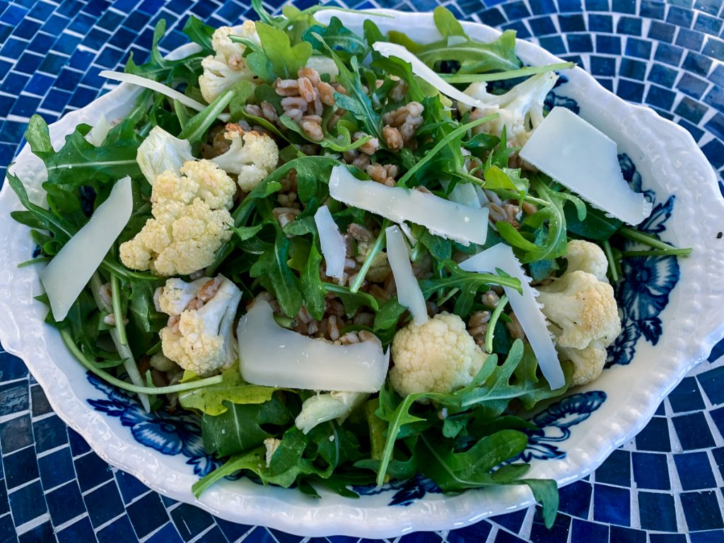 Roast Cauliflower and Farro salad Bright