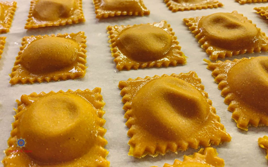 Pumpkin Ravioli on Sheet Pan