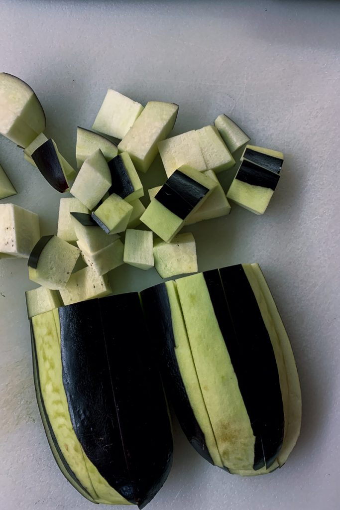 Eggplant Peeled and Cubed